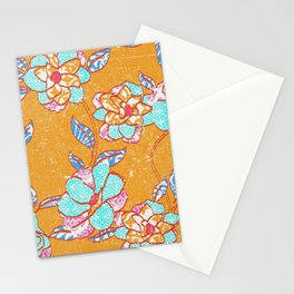 Crayon Bright Happy Floral on Summer Orange Stationery Cards