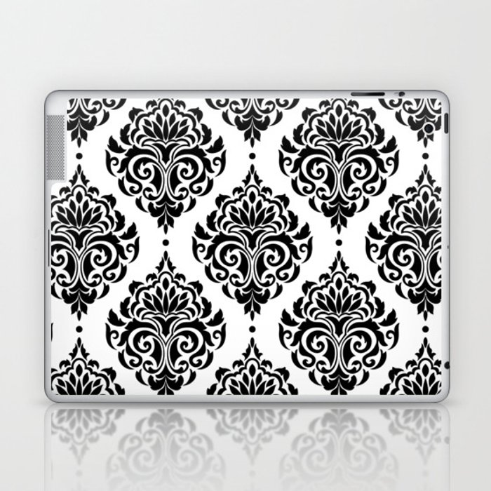 Black and White Damask Laptop & iPad Skin