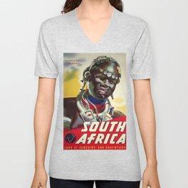 South Africa Vintage Travel Poster Unisex V-Neck
