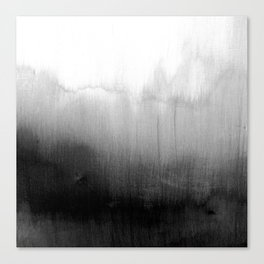 Modern Black and White Watercolor Gradient Canvas Print