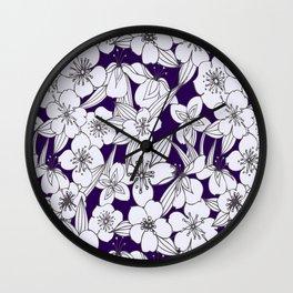 Hand painted modern black white indigo floral pattern Wall Clock