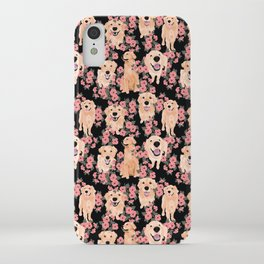 Golden Retrievers and flowers on Black iPhone Case