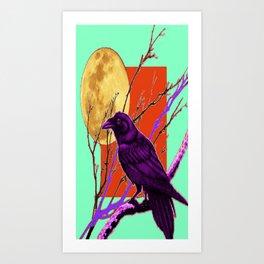 Surreal Purple-green  Mystic Moon Crow/Raven Moon Abstract Art Print