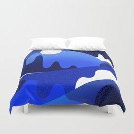 Terrazzo landscape blue night Duvet Cover