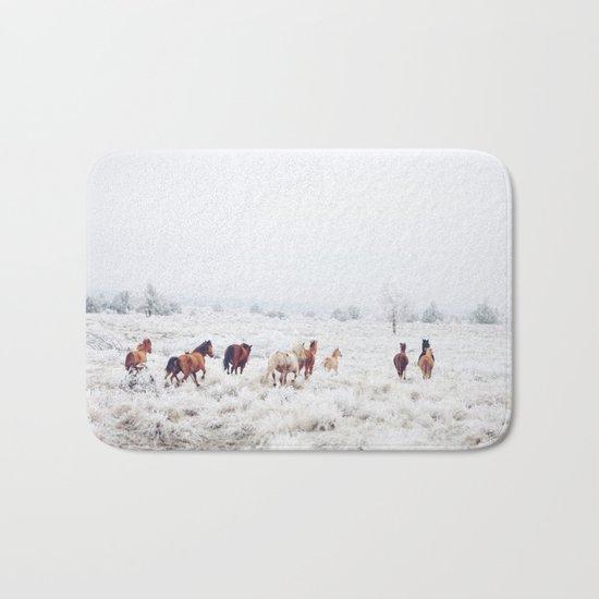 Winter Horses Bath Mat