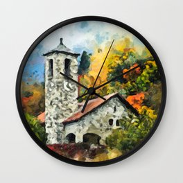 Castle with Foliage Surroundings Wall Clock