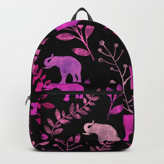Watercolor Flowers & Elephants III Backpack