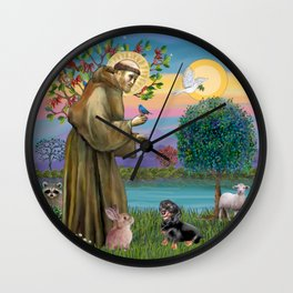 Saint Francis and Black & Tan Dachshund Wall Clock