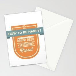 Be Happy Drink Beer Go Boating Design Stationery Cards