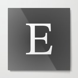 Very Dark Gray Basic Monogram E Metal Print