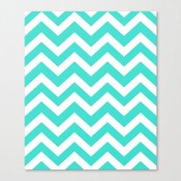 Turquoise - blue color -  Zigzag Chevron Pattern Canvas Print