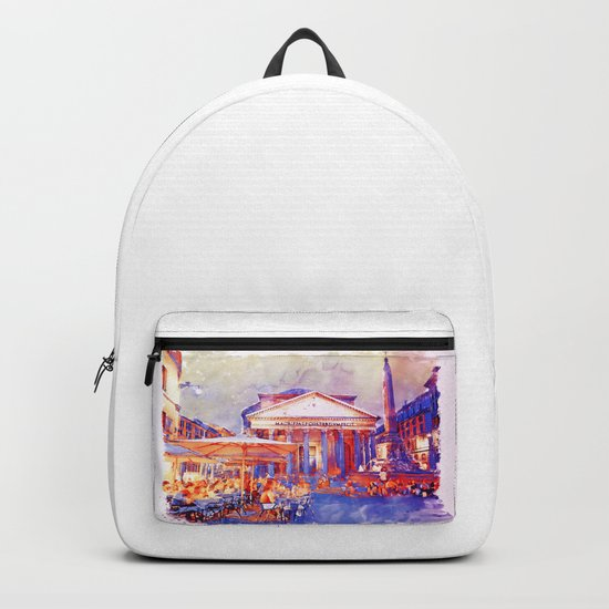 The Pantheon Rome Watercolor Streetscape Backpack