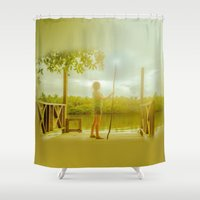 all seeing eye Shower Curtains featuring All Seeing Eye by Carloe