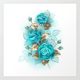 Bouquet of Turquoise Roses Art Print