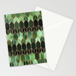 Stained Glass 5 - Forest Green Stationery Cards