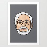 hayao miyazaki Art Prints featuring Hayao Miyazaki Portrait - Grey by Cedric S Touati