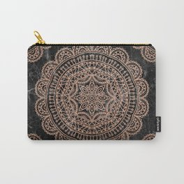 Mandala - rose gold and black marble 2 Carry-All Pouch