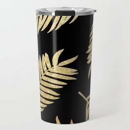 Gold Glitter Palms  |  Black Background Travel Mug