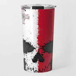 Flag of Malta on a Chaotic Splatter Skull Travel Mug