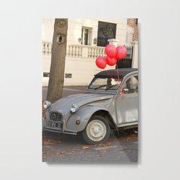 Red Balloons on Gray Vintage Car in Paris Metal Print