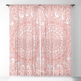 Coral and White Mandala Sheer Curtain