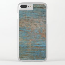 Painted Blue Wood Clear iPhone Case
