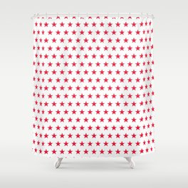 Red stars on white pattern Shower Curtain