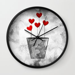 Heart Pot Wall Clock