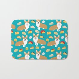corgi cheese lover - edam, brie, cheddar, camembert, french food, food, cute dog Bath Mat
