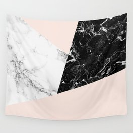 Black white marble blush pink color block Wall Tapestry