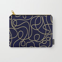 Navy Blue and Gold Glitter Doodle Line Art Carry-All Pouch
