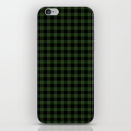 Dark Forest Green and Black Gingham Checkcom iPhone Skin