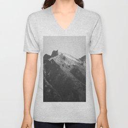 Teton Mountain in Black and White Unisex V-Neck