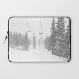 Empty Chairlift // Alone on the Mountain at Copper Whiteout Conditions Foggy Snowfall Laptop Sleeve