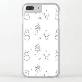 Minimalist Xmas Pattern Clear iPhone Case