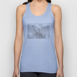 Vintage Mexico Railroad Map (1881) BW Unisex Tank Top