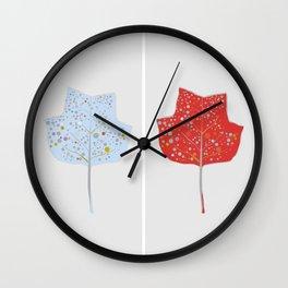 Blue & Red Leaf Design II Wall Clock