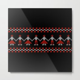 Traditional Hora people cross-stitch row black Metal Print