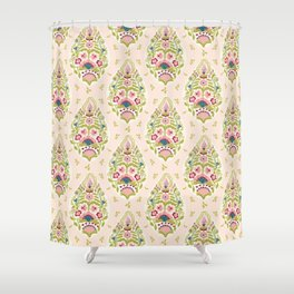 Hand drawn arabesque floral paisley damask Shower Curtain