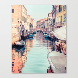 Boats rest in a Venice Canal Fine Art Print Canvas Print