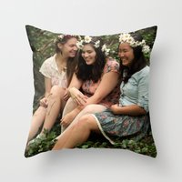 fairies Throw Pillows featuring Forest Fairies by Frances Dierken