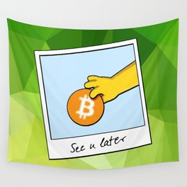 See you later funny Bitcoin Donut on green Wall Tapestry