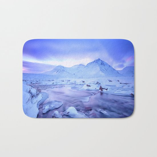 Freezing Mountain Lake Landscape : Blue Bath Mat