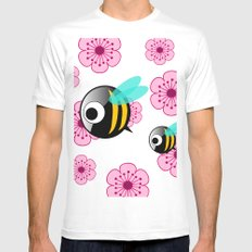 The first Bee Buzz of Spring Mens Fitted Tee MEDIUM White