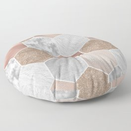 Gentle rose gold and marble hexagons Floor Pillow
