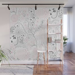 Classy doodles hand drawn floral artwork Wall Mural
