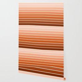70s Stripe - ombre sunset, sun, sunset, boho, desert, rust, orange, brown, sand, terracotta Wallpaper