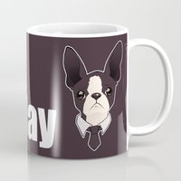 boston terrier Mugs featuring Boston Terrier by brit eddy