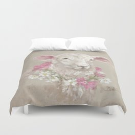 Sheep With Floral Wreath by Debi Coules Duvet Cover