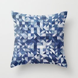 Blue and White Triangles and Squares Throw Pillow